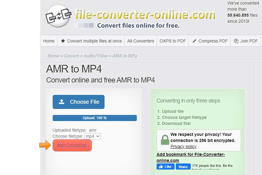convert AMR to MP4