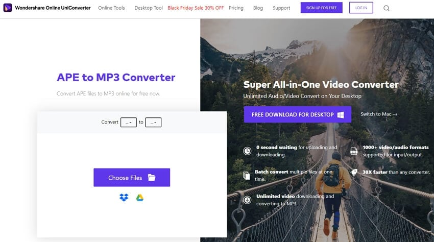 Convert APE to MP3 with Online UniConverter
