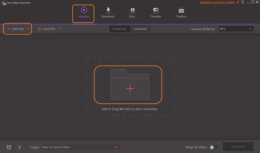 Add .ape files to Wondershare Free Video Converter