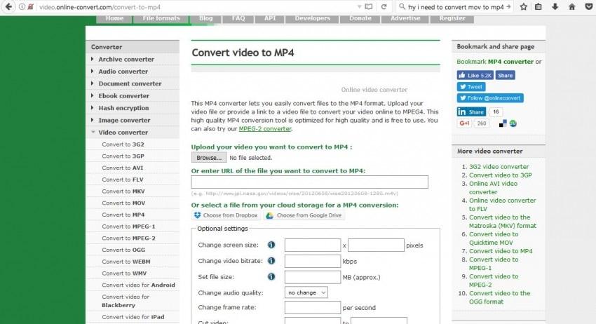 MOV to MP4 Converter Online - Online Convert