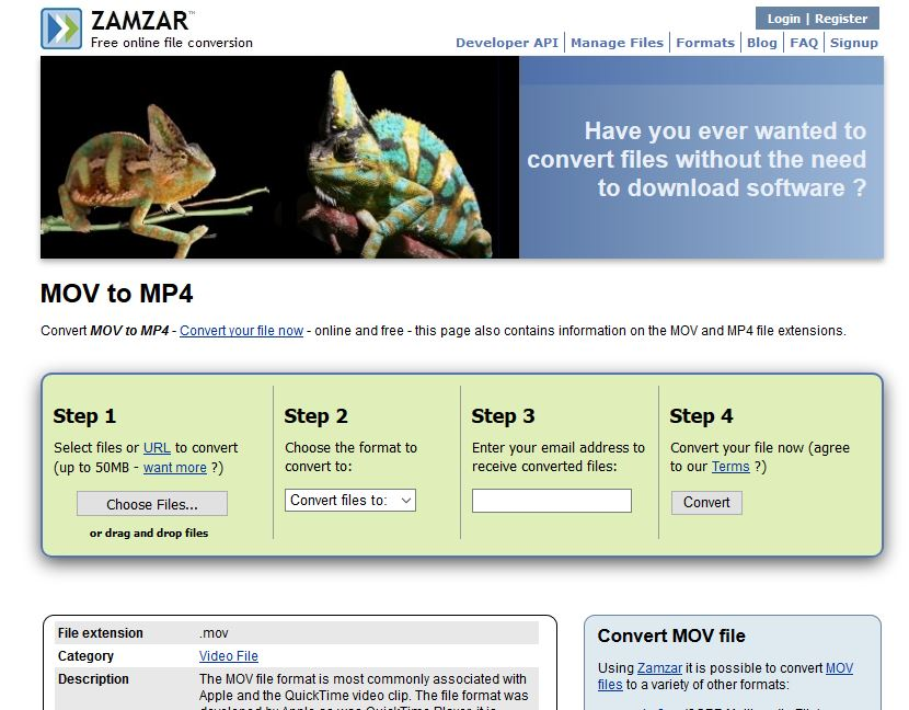 MOV to MP4 Converter Online - Zamzar