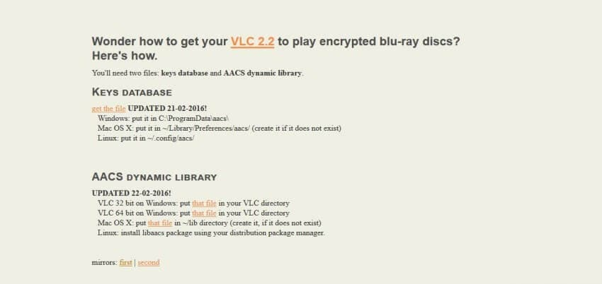play bluray movies with vlc-download key database
