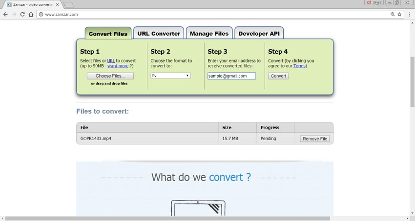 online MP4 to FLV converters Zamzar