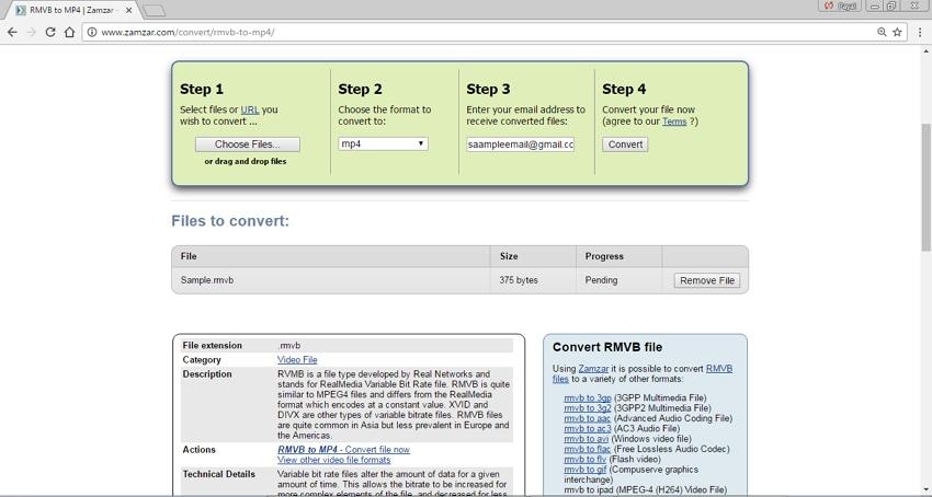 Convert RMVB/RM to MP4 Online - Zamzar