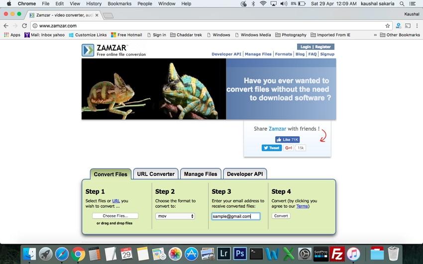 Convert MP4 o MOV on Mac Zamzar
