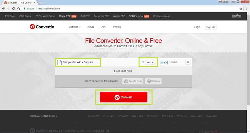 Convert Xvid to MP4 online