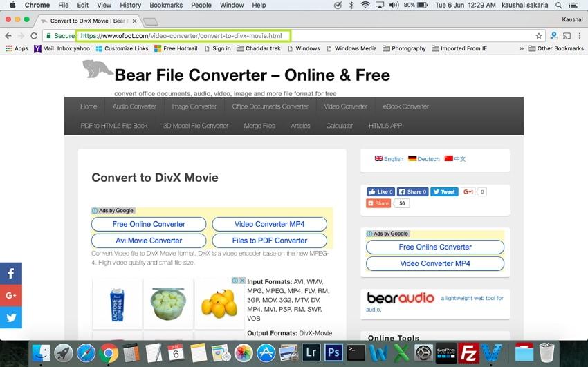 Convert MP4 to DivX on Mac - open the website