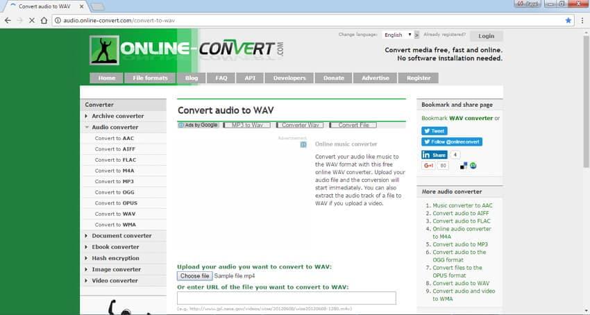 MP4 to WAV Converters Online Online Convert