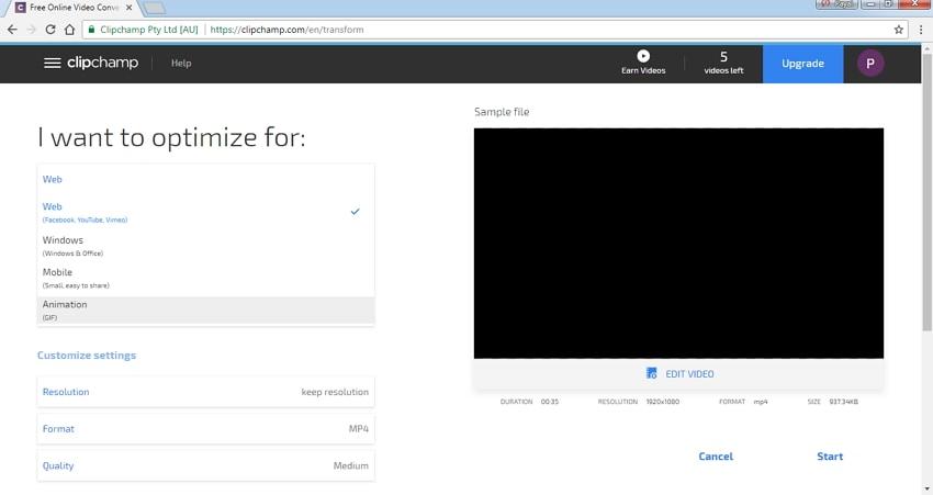 compress video using Clipchamp