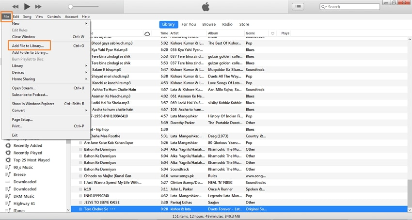 convert mp3 to iphone ringtone with itunes-select desired mp3 song