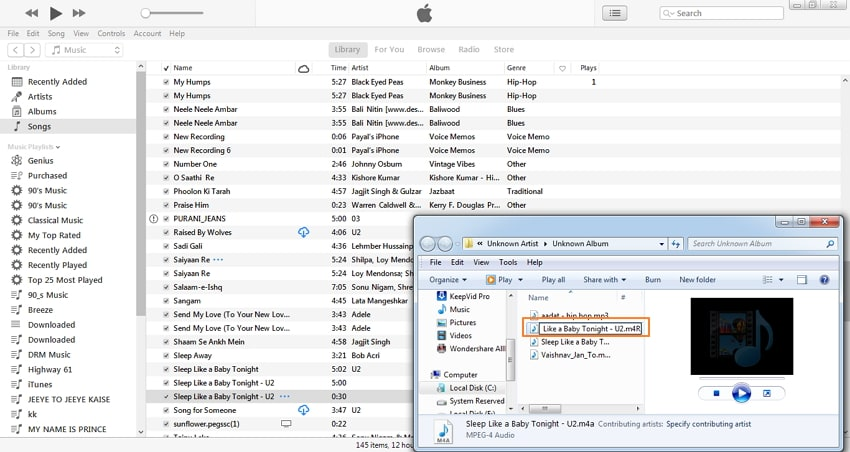 convert mp3 to iphone ringtone with itunes-change .m4a to .m4r