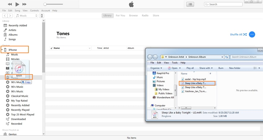 convert mp3 to iphone ringtone with itunes-sync .m4r to iphone