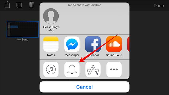 turn mp3 to iphone with garageband-share created ringtone