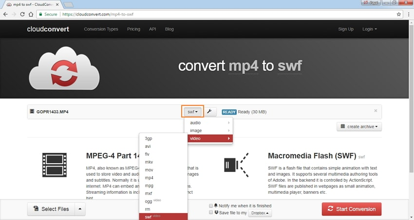select SWF as the output format
