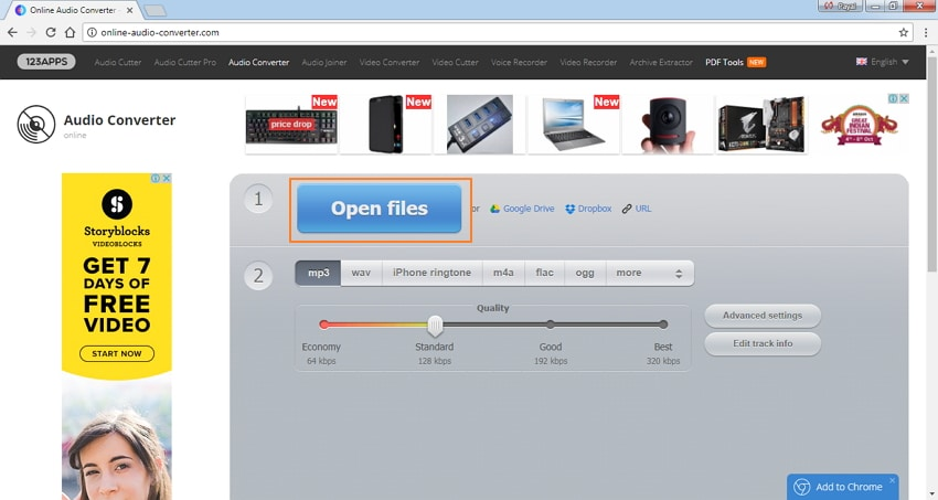 Add MP4 files to Online Audio Converter