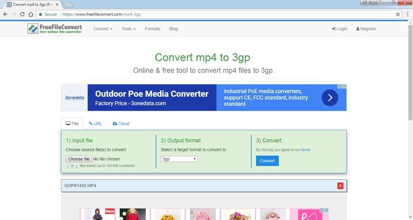 Online 3GP Converter FreeFileConvert