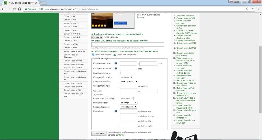 WMV converter Online Convert
