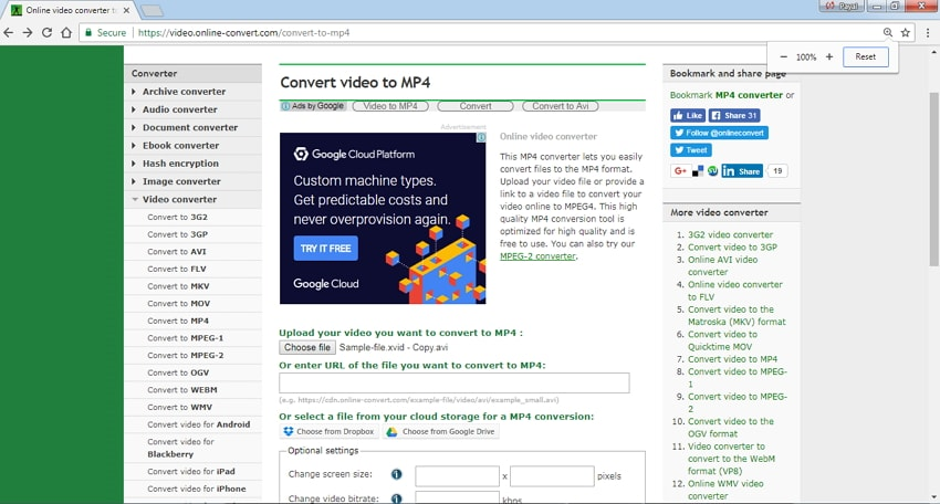 video to mp4 Online Converter