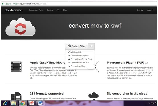 upload mov video for converting online