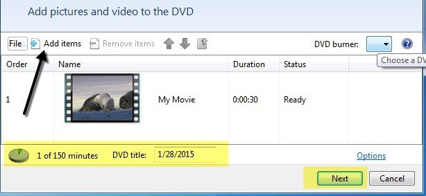 add files to Windows DVD Maker and set the parameters