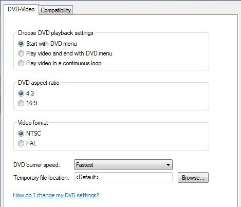 select DVD menu in Windows DVD Maker