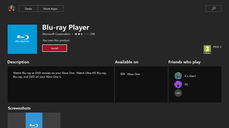 play a DVD on Xbox one using Blu-ray player app