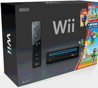 Wii Black Console with New Super Mario Brothers Wii and Music CD