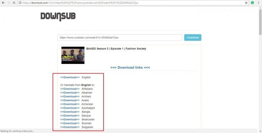 select video subtitle