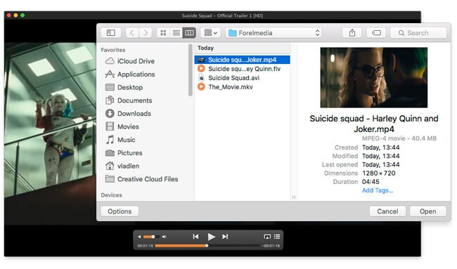 load mp4 file to elmedia player