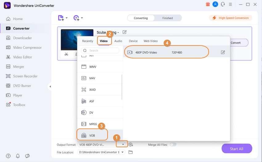 choose VOB as output for AVI files