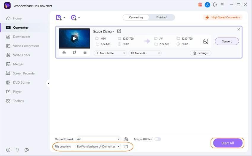 Starten Sie die Konvertierung der GIF-Datei in AVI