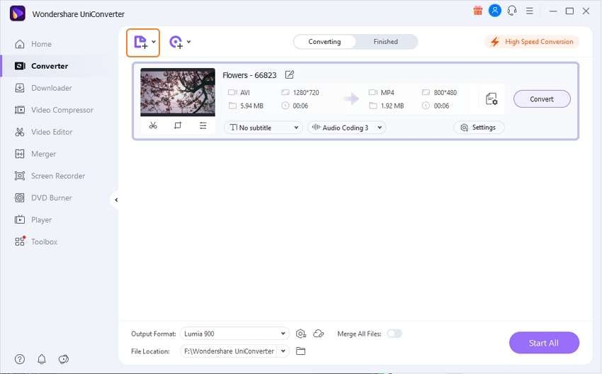 add files to the avi to flv converter