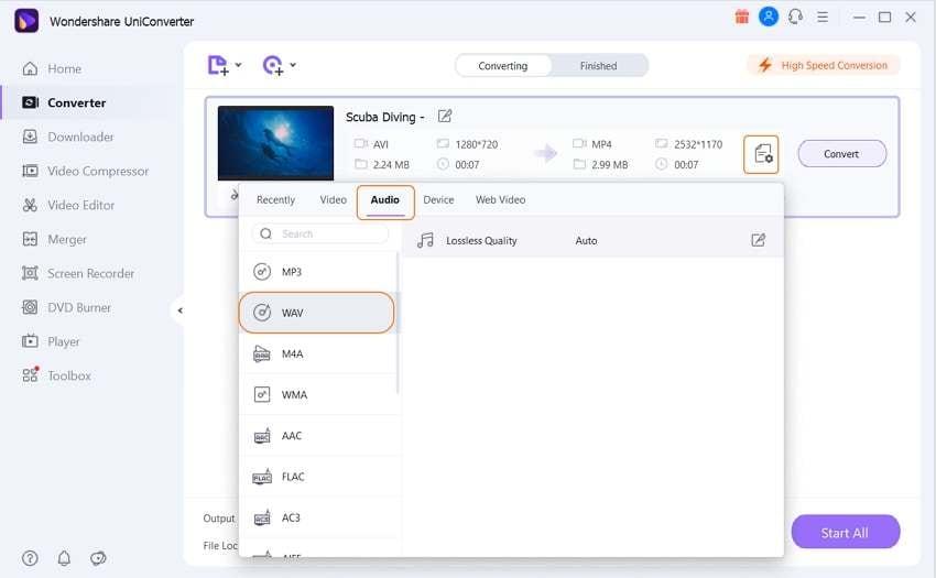 choose output format as WAV