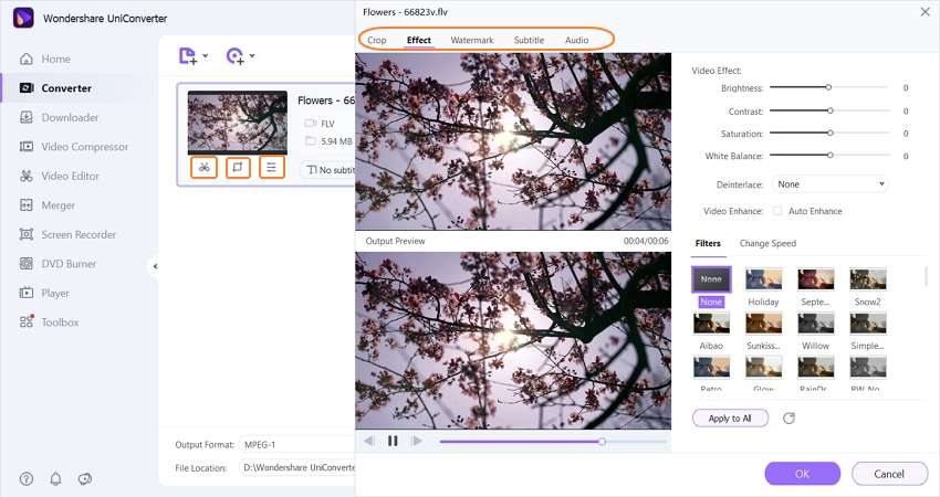edit flv file by uniconverter