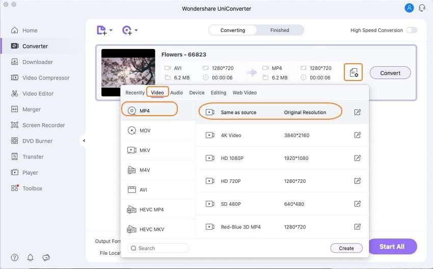 set video output format