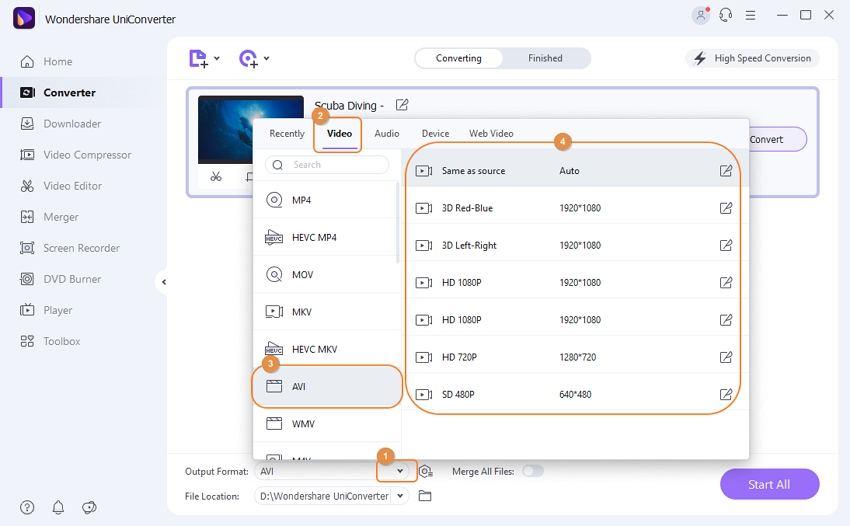 choose avi as output for dvr files