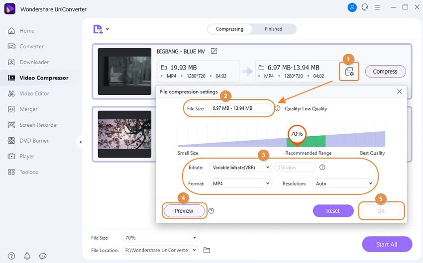 adjust QuickTime video compression