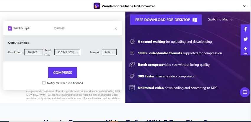 online free video compression software - Online UniConverter