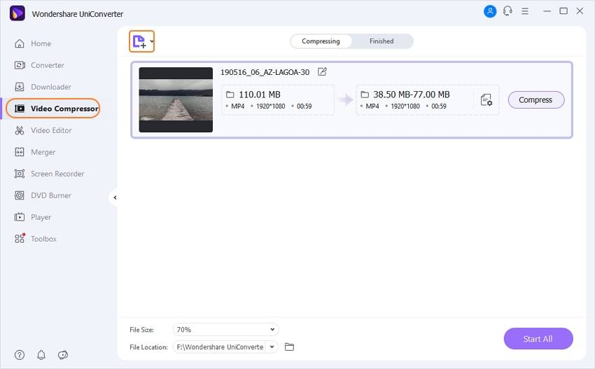 add MP4 video to Wondershare MP4 resize tool