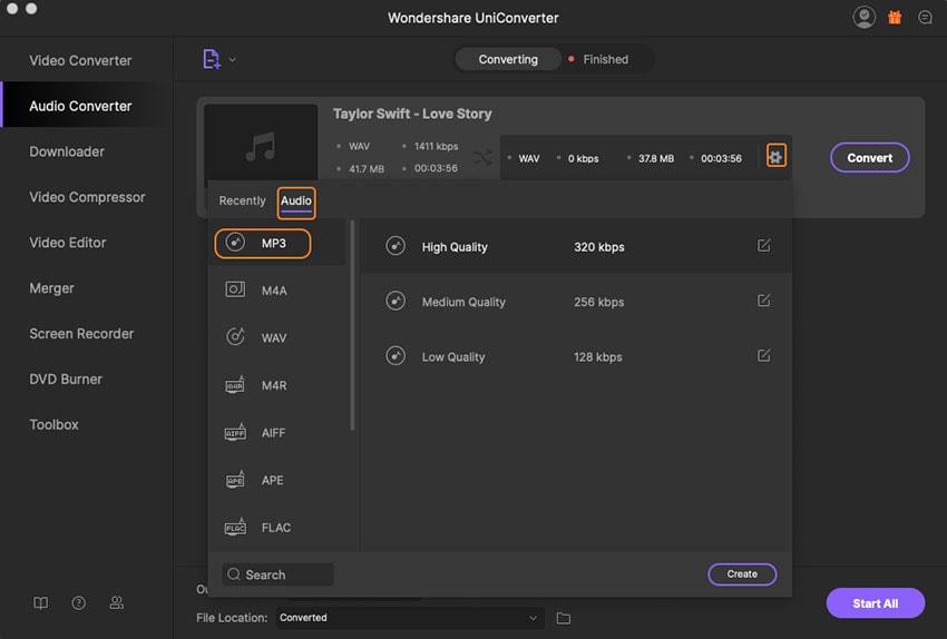 convert wav to mp3 format