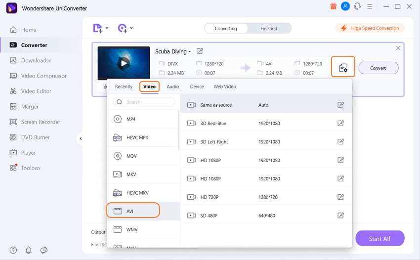 choose AVI as output in UniConverter