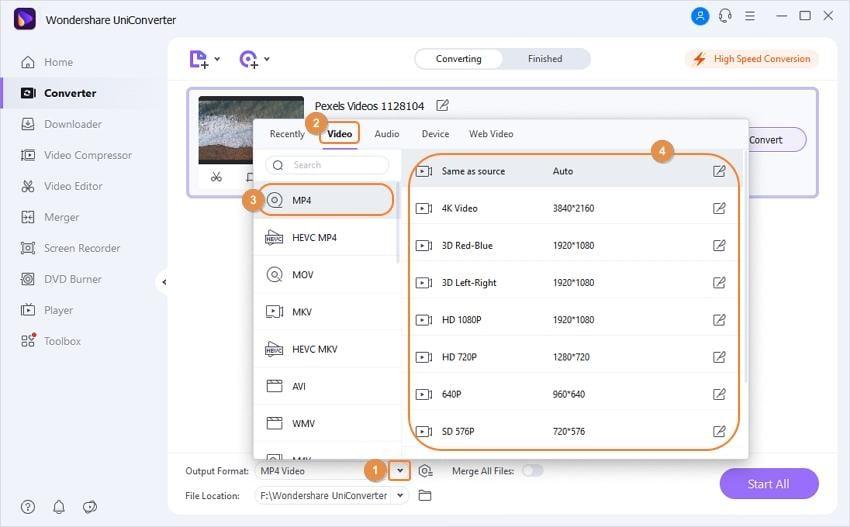 Starten Sie die Konvertierung von Videos in MP4 mit dem Wondershare UniConverter