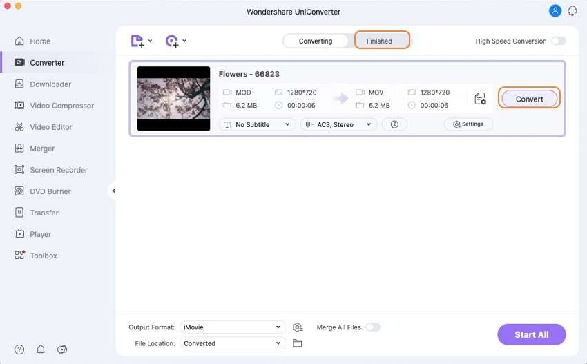 convert MOD to iMovie