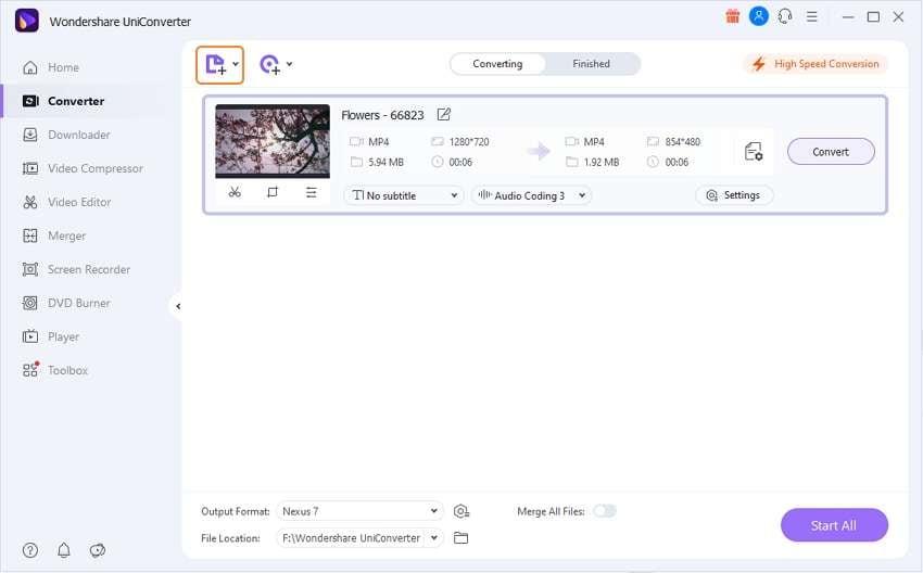 nexus 7 play mp4 - add files