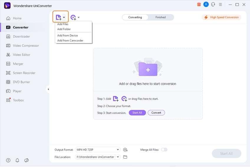 Launch Wondershare RMVB converter and add RMVB/RM file