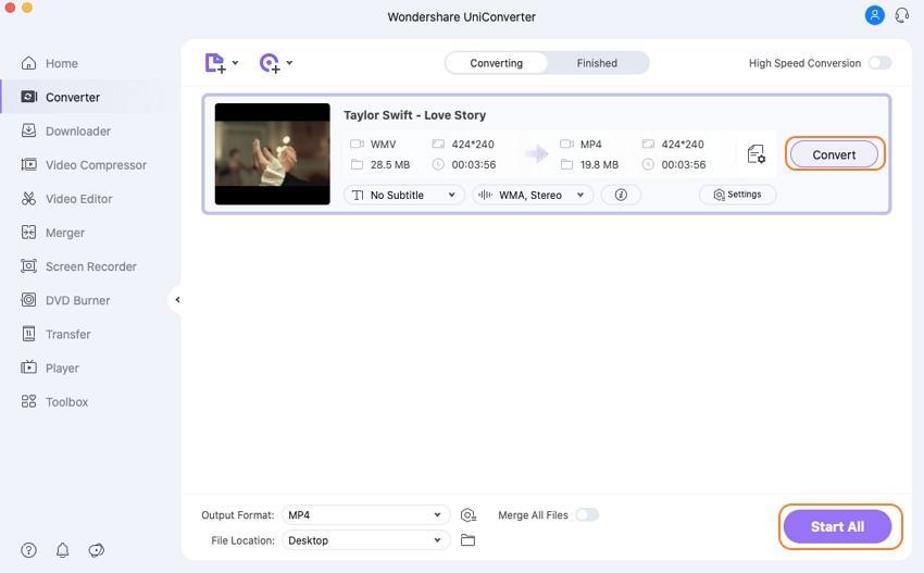 Convert WMV to MP4 on Mac