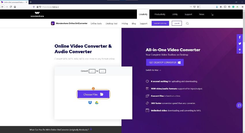 load mp4 into Online UniConverter