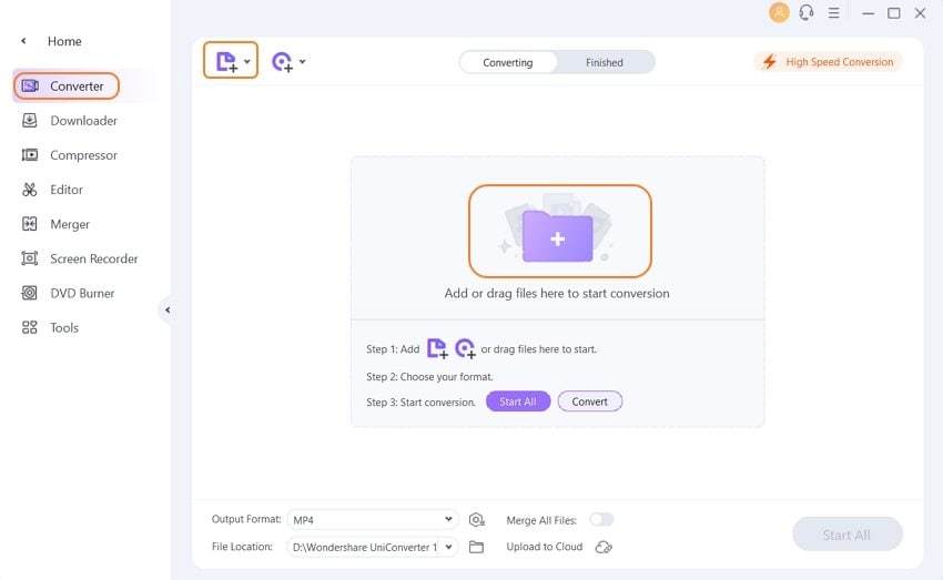 Launch Wondershare MP4 to MP3 converter and import MP4 files