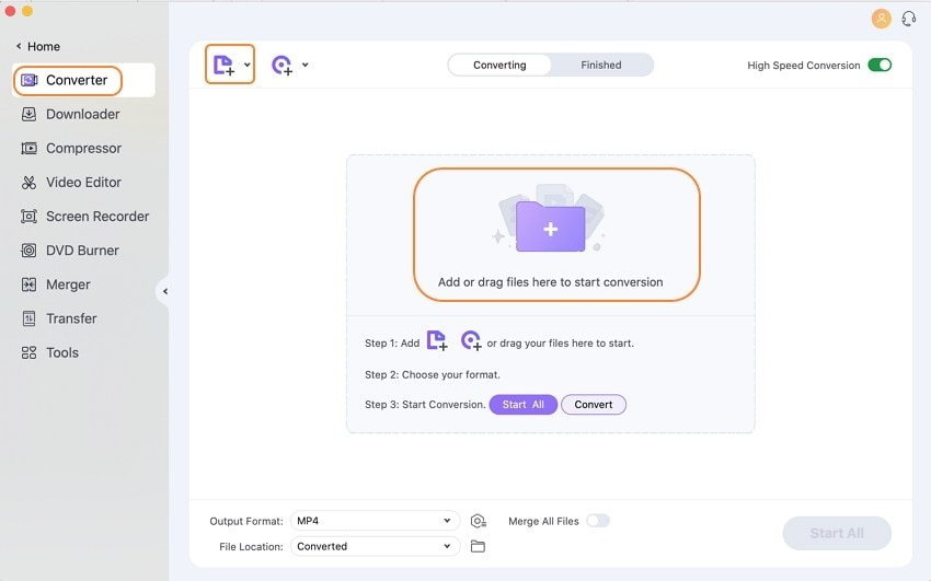 add mp4 files to wondershare uniconverter