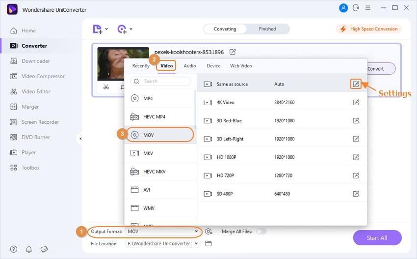 choose MOV as MTS target format